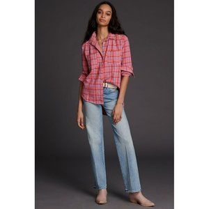ANTHROPOLOGIE Seen Jay Plaid Buttondown Pink Combo
